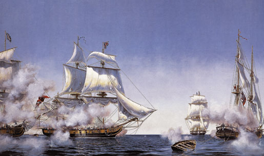 Fleet action, 10 September 1813. After several hours of vicious fighting, Master and Commandant Oliver Perry's American squadron captured the British squadron on Lake Erie. [ILLUSTRATION: PETER RINDLISBACHER]