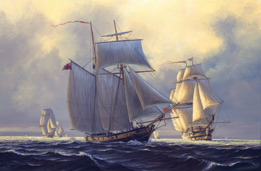 Leviathan on the lake, September 1814. HMS St. Lawrence (far right), the largest warship to be built on the Great Lakes sails with the British squadron on Lake Ontario. [ILLUSTRATION: PETER RINDLISBACHER]