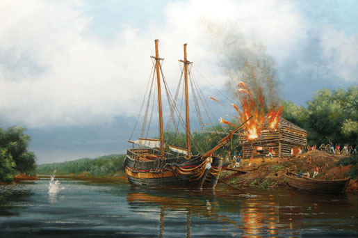 The end of the HMS Nancy, August 1814. Trapped in the Nottawasaga River by superior enemy forces, the schooner Nancy was destroyed lest she fall into enemy hands. [ILLUSTRATION: PETER RINDLISBACHER]