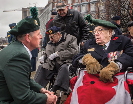 Veterans gather in front of the National War Memorial in Ottawa. [PHOTO: DAN WARD]