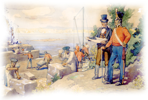 Colonel By watching the building of the Rideau Canal, 1826. [ILLUSTRATION: LIBRARY AND ARCHIVES CANADA—C073703]