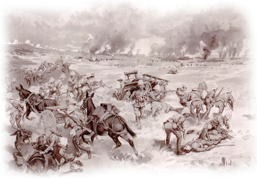 Canadians at Battle of Paardeberg. [ILLUSTRATION: LIBRARY AND ARCHIVES CANADA—E008319465]