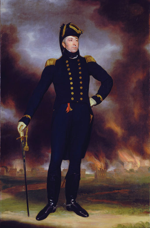 Rear Admiral George Cockburn [ILLUSTRATION: JOHN JAMES HALLS, WIKIPEDIA]