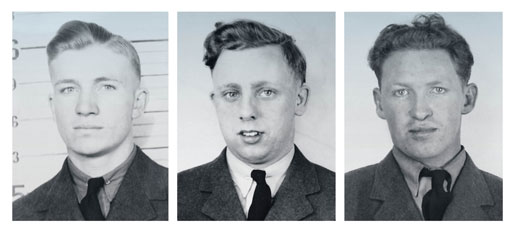 Flying Officer Gordon A. Green, Sergeant Richard M. Cole and Pilot Officer Leonard W. Pattyson were never seen again after their aircraft  was hit by flak in July 1944. [PHOTOS COURTESY HUGH A. HALLIDAY]