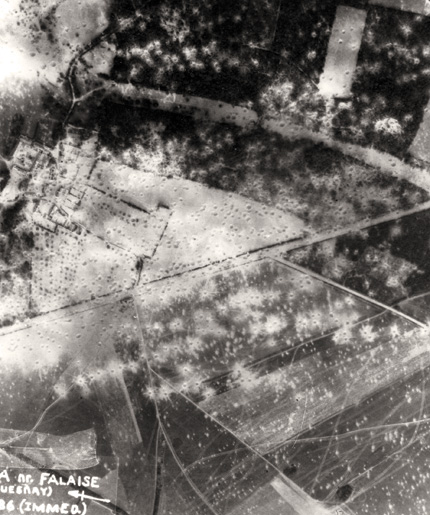 Aerial photo after the bombing at Quesnay Woods. [PHOTO: LAURIER CENTRE FOR MILITARY STRATEGIC AND DISARMAMENT STUDIES AIR PHOTO COLLECTION]