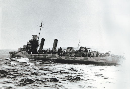 The USS Gleaves, one of the modern destroyers deployed for escort duty in the northwest Atlantic, late 1941. [PHOTO: KEN MACPHERSON, NAVAL MUSEUM OF ALBERTA; NAVAL MUSEUM OF ALBERTA]