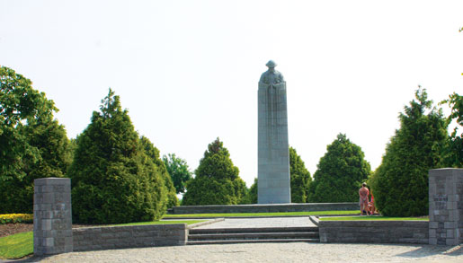 The St. Julien Memorial, northeast of Ypres, Belgium, marks the battlefield where 18,000 Canadians faced the first German gas attacks in April 1915. [PHOTO: SHARON ADAMS]
