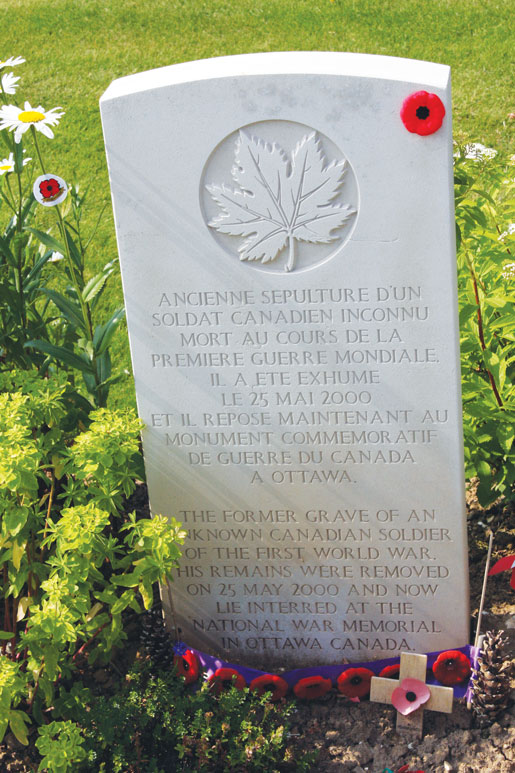 A marker identifies the former grave of the Unknown Soldier who now rests in a tomb in front of the National War Memorial in Ottawa. [PHOTO: SHARON ADAMS]