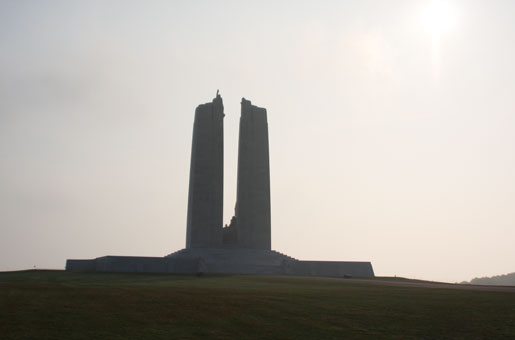 "The Canadian National Vimy Memorial. Unveiled in 1936, the memorial is inscribed with the names of  11,285 Canadian soldiers who were posted  as ""missing, presumed dead"" in France. [PHOTO: SHARON ADAMS]"