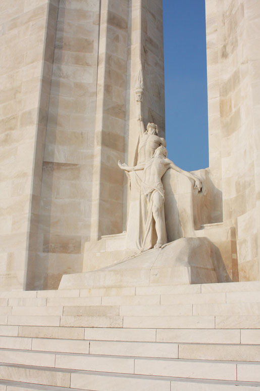 """The Canadian National Vimy Memorial sculptures. Unveiled in 1936, the memorial is inscribed with the names of  11,285 Canadian soldiers who were posted  as """"missing, presumed dead"""" in France. [PHOTO: SHARON ADAMS]"""