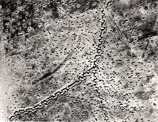The shell-pocked landscape surrounding Regina and Kenora trenches, September 1916. [PHOTO: LIBRARY AND ARCHIVES CANADA—C043992]