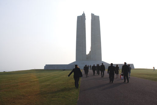 Members of the Legion pilgrimage approach the Canadian National Vimy Memorial. [PHOTO: SHARON ADAMS]