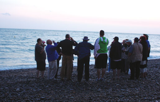 Pilgrims toast the fallen and the wounded at Dieppe. [PHOTO: SHARON ADAMS]