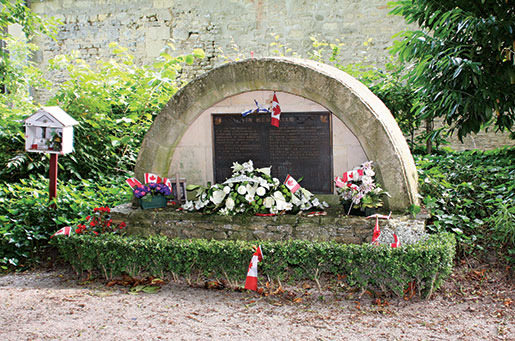 The memorial at Abbaye d'Ardenne. [PHOTO: SHARON ADAMS]