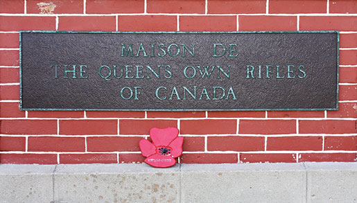 A plaque dedicated to the Queen's Own Rifles on Canada House at Juno Beach. [PHOTO: SHARON ADAMS]