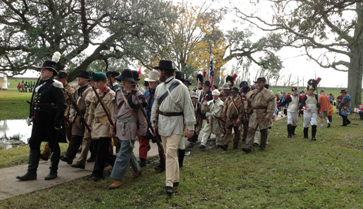 American troops (re-enactors) on the march at Jean Lafitte National Historic Park-Chalmette Battlefield. [PHOTO: NATIONAL PARK SERVICE]