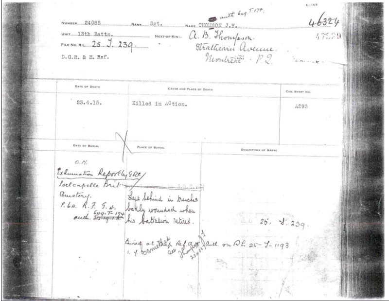 The casualty report for Sgt. John Henry Thomson. []