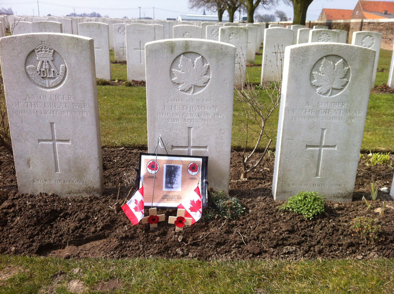 The grave of Sgt. John Henry Thomson at Poelcappelle British Cemetery, Belgium. [PHOTO: TOM O'SULLIVAN]