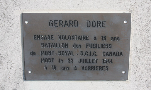 The memorial (top) with plaque (above) for Private Gérard Doré, killed in action at age 16. [PHOTO: SHARON ADAMS, LEGION MAGAZINE]