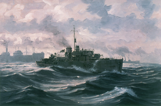 A painting by John M. Horton depicts HMCS Sackville on North Atlantic convoy duty. [ILLUSTRATION: JOHN M. HORTON, BEAVERBROOK COLLECTION OF WAR ART/CANADIAN WAR MUSEUM—19840654-001]