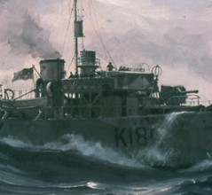 A painting by John M. Horton depicts HMCS Sackville on North Atlantic convoy duty. [ILLUSTRATION: JOHN M. HORTON, BEAVERBROOK COLLECTION OF WAR ART/CANADIAN WAR MUSEUM—19840654-001