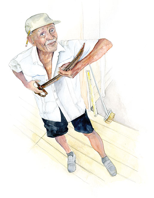 Second World War veteran Leon Watts points out the groove designed to let the blood run down the blade if you stab your enemy. [ILLUSTRATION: JENNIFER MORSE]