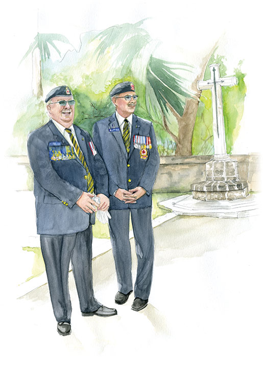 Dominion President Gordon Moore (left) and Dominion Secretary Brad White prior to placing a wreath in the Barbados Military Cemetery. [ILLUSTRATION: JENNIFER MORSE]