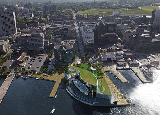 A computer-generated  image shows where  Battle of the Atlantic  Place (shown at right  with the green roof) will be built along Halifax's waterfront. [ILLUSTRATION: BATTLE OF THE ATLANTIC PLACE]