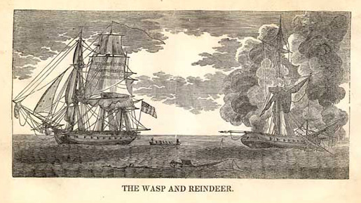 USS Wasp II and HMS Reindeer [ILLUSTRATION: WIKIPEDIA]