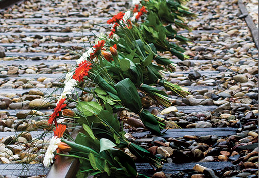 Flowers are placed along the torn up tracks at the Westerbork transit camp. [PHOTO: TOM MacGREGOR, LEGION MAGAZINE ARCHIVES]