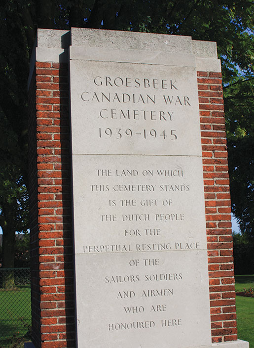 The entrance to Groesbeek Canadian War Cemetery. [PHOTO: SHARON ADAMS, LEGION MAGAZINE ARCHIVES]