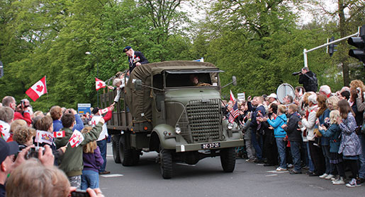 The Veterans Parade in Apeldoorn. [PHOTO: SHARON ADAMS, LEGION MAGAZINE ARCHIVES]