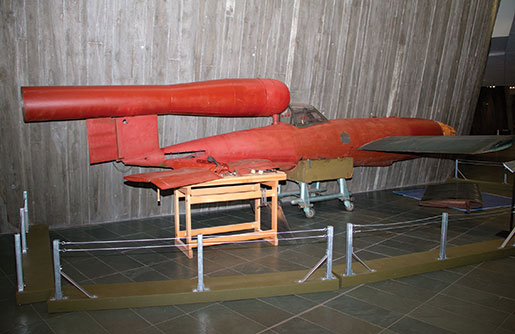 A V-1 flying bomb collected by Farley Mowat's team sits on display at the Canadian War Museum. [PHOTO: TOM MacGREGOR]