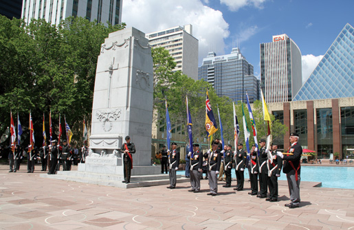 Remembrance ceremony unfolds in front of the cenotaph at Edmonton city hall. [PHOTO: LEGION MAGAZINE]
