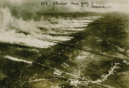 This photo taken of a gas cloud being released on the Somme in 1916 illustrates how the poison could drift across the lines and overwhelm anyone in its path. Chlorine gas was used for the first time on April 22, 1915, in the Ypres Salient. [PHOTO: george metcalf collection, canadian war museum—19700140-077]