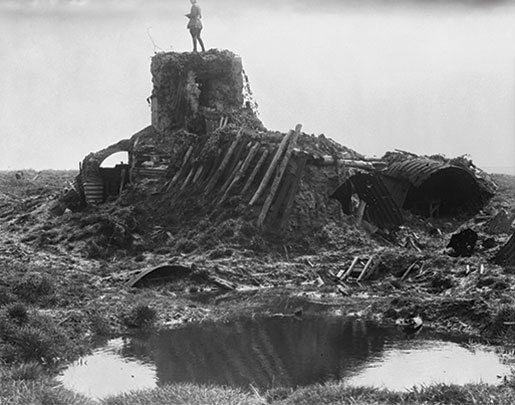 The remains of a German observation post, April 1915. [PHOTO: LIBRARY AND ARCHIVES CANADA—P004705]