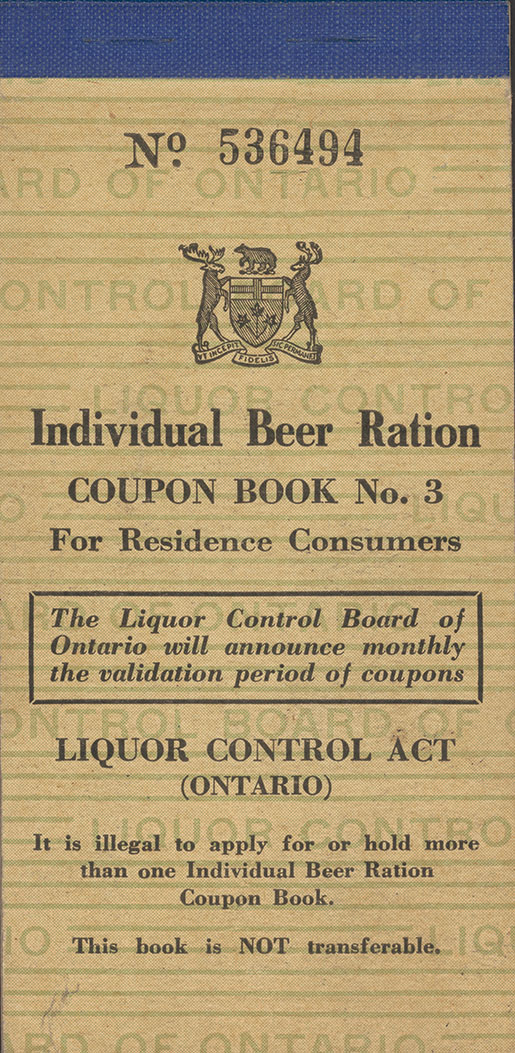 The cover of a beer ration coupon book. [photo: LABATT BREWING COMPANY COLLECTION, WESTERN ARCHIVES, WESTERN UNIVERSITY]
