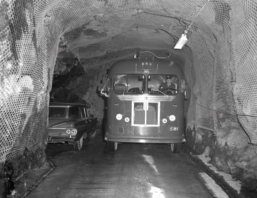 Traffic in the tunnel. [PHOTO: CANADIAN FORCES MUSEUM OF AEROSPACE DEFENCE—NB64-85-10]