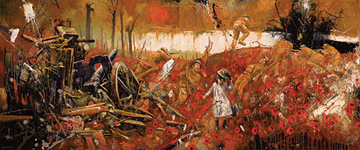 Remembrance, which is two paintings, depicts a young girl walking through the ruins of a battlefield. [PHOTO: BRIAN LORIMER]
