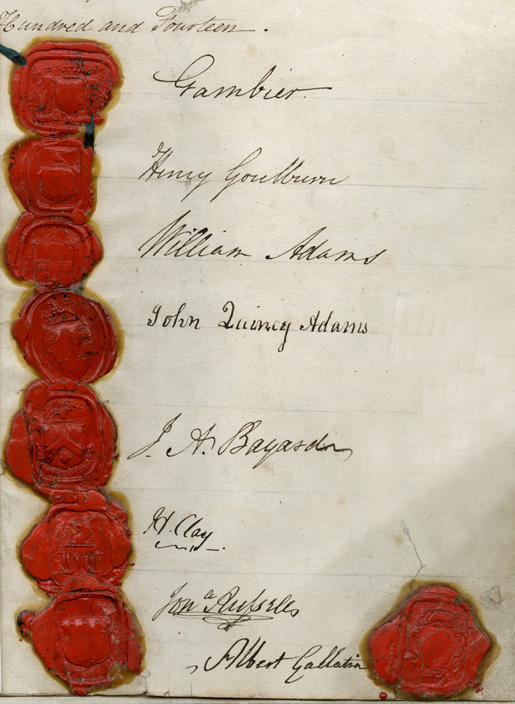 Treaty of Ghent seals and signatures [PHOTO: THE NATIONAL ARCHIVES OF THE UK]