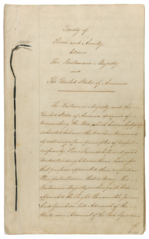 Treaty of Ghent [PHOTO: NATIONAL ARCHIVES, UNITED STATES]