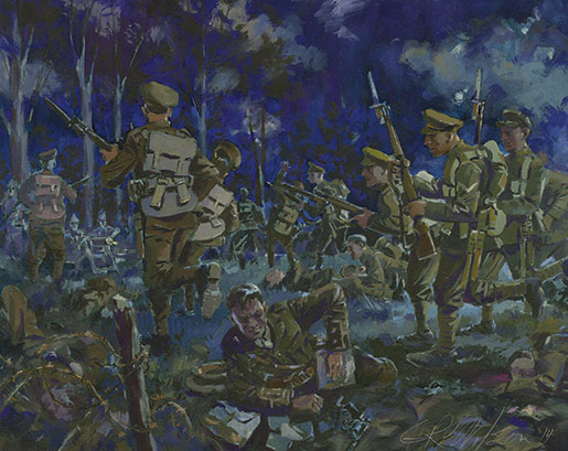 A painting by Gordon Wilson depicts the Canadian night attack on Kitcheners Wood. [WATERCOLOUR: GORDON WILSON]