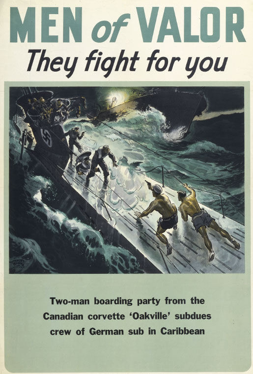 A propaganda poster depicts gunnery officer Hal Lawrence and Petty Officer Art Powell during the perilous boarding of U-94 in the Caribbean, August 1942. [ILLUSTRATION: REGINALD ROGERS, CANADIAN WAR MUSEUM—19750317-102]