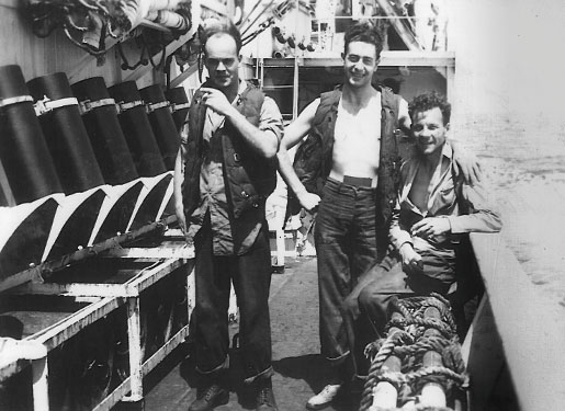 Engine room artificers on board HMCS Oakville. [photo: COURTESY SEAN E. LIVINGSTON, www.hmcsoakvillebook.com]