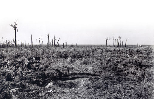 A sign marks the location of Kitcheners Wood, site of the April 1915 battle. [PHOTO: DEPARTMENT OF NATIONAL DEFENCE, LIBRARY AND ARCHIVES CANADA—PA004564]