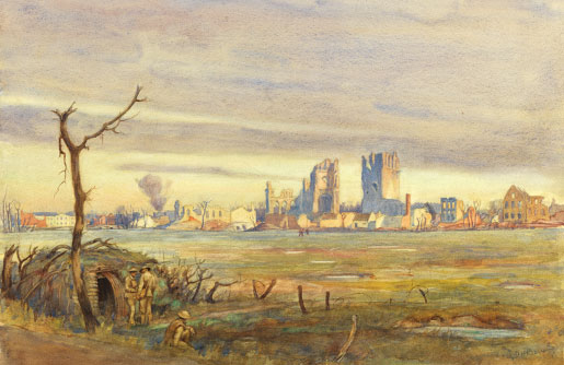 "The watercolour ""First Glimpse of Ypres"" depicts the ruins of the Cloth Hall in Ypres, Belgium, which Canadian troops defended in April 1915. The crude shelter in the foreground provided respite for soldiers. [Lieut. Cyril Henry Barraud/Canadian War Museum/19710261-0021]"
