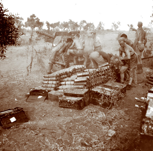 A crew with the 2nd Field Regiment of the Royal Canadian Artillery fires a 25-pounder at enemy  positions near Nissoria, Sicily, in July 1943. This  regiment served in Italy  until January 1945. [LAC/PA-151748]