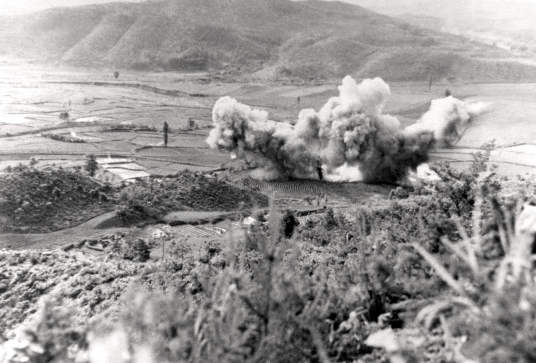 Historic Korean War Photo – An Explosion Near The Imjin River