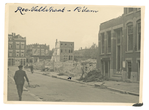 An X marks the spot where the Triesman's house stood before the bombardment of Rotterdam by the German Luftwaffe. [Courtesy of Gerard Triesman]