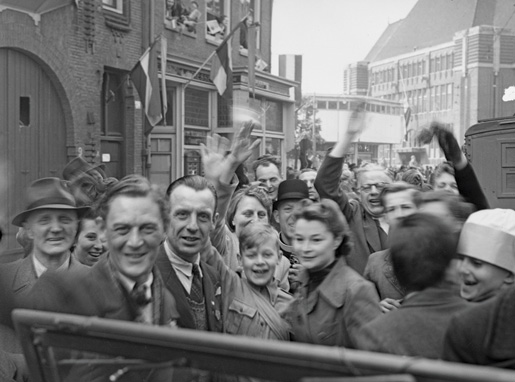 A sea of happy Dutch citizens welcomes the British 49th Division during the liberation of Utrecht, Netherlands, on May 7, 1945. This division served with the First Canadian Army at the time. [LAC/PA-171747]